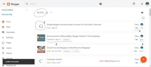 Google Blogspot User Interface